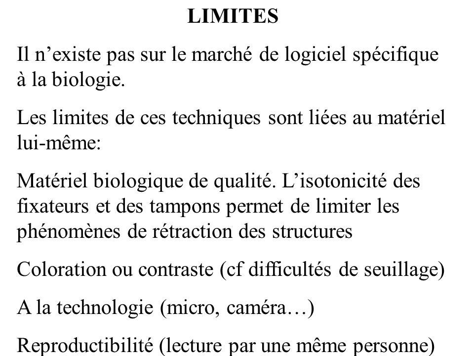 LIMITESIl n'existe pas sur le marché de logiciel spécifique à la biologie. Les limites de ces techniques sont liées au matériel lui-même: