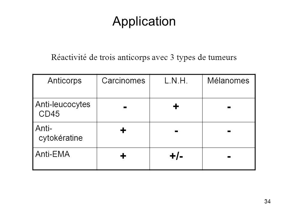 Réactivité de trois anticorps avec 3 types de tumeurs