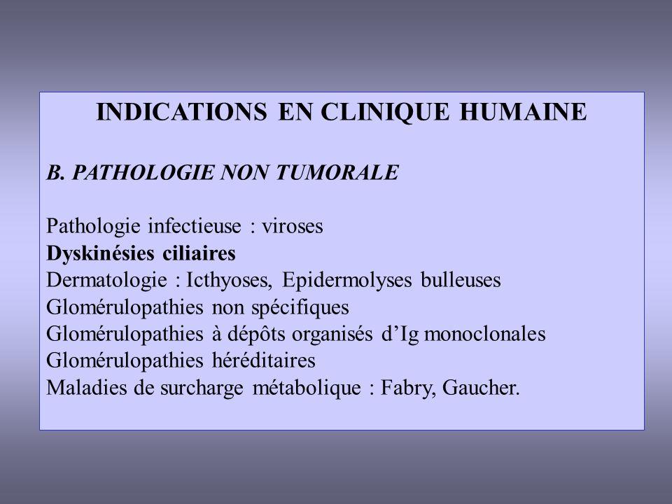INDICATIONS EN CLINIQUE HUMAINE