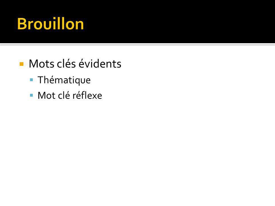 Brouillon Mots clés évidents Thématique Mot clé réflexe