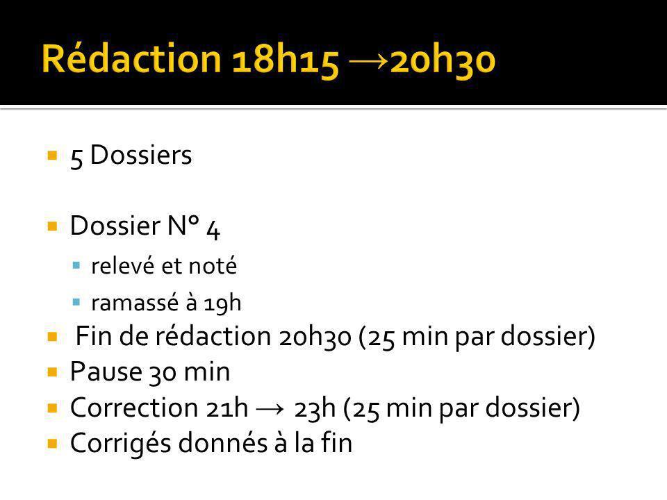 Rédaction 18h15 →20h30 5 Dossiers Dossier N° 4