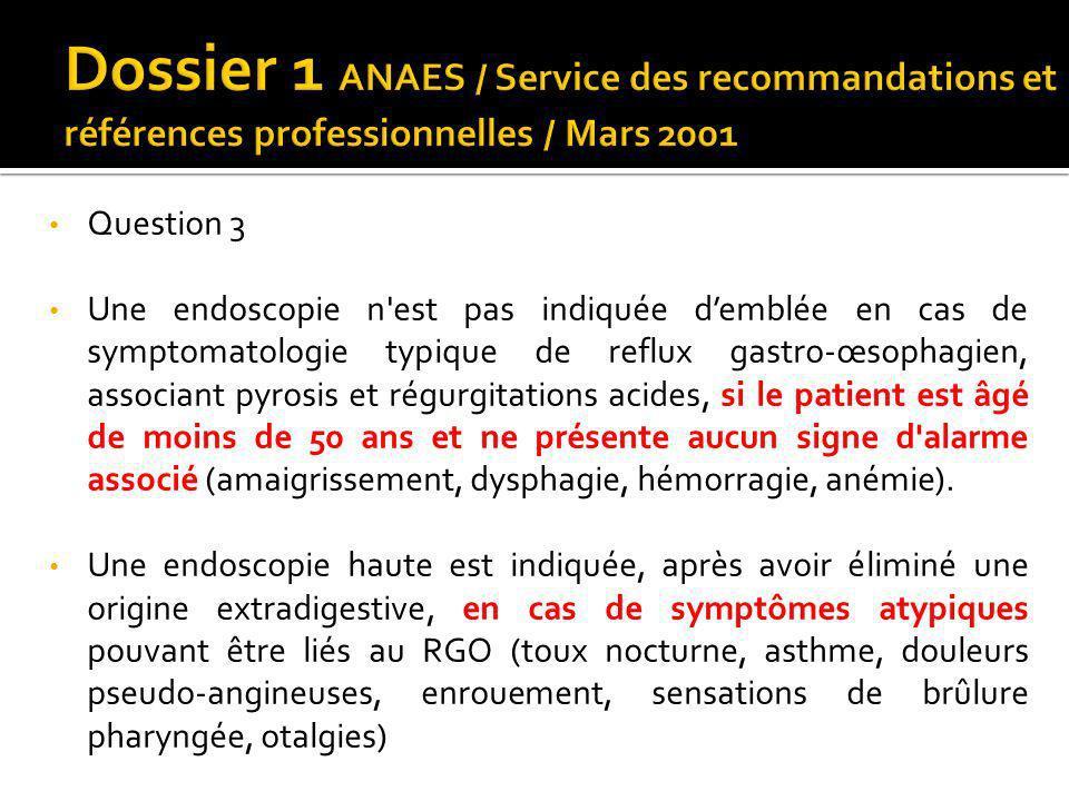Dossier 1 ANAES / Service des recommandations et références professionnelles / Mars 2001