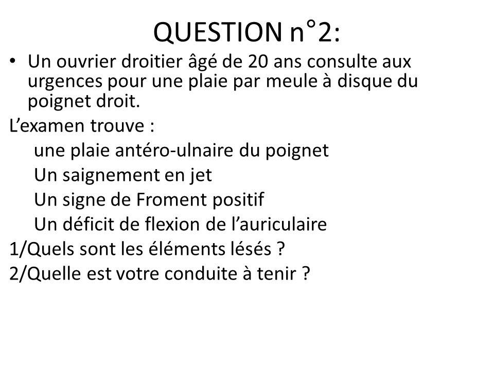 QUESTION n°2: Un ouvrier droitier âgé de 20 ans consulte aux urgences pour une plaie par meule à disque du poignet droit.
