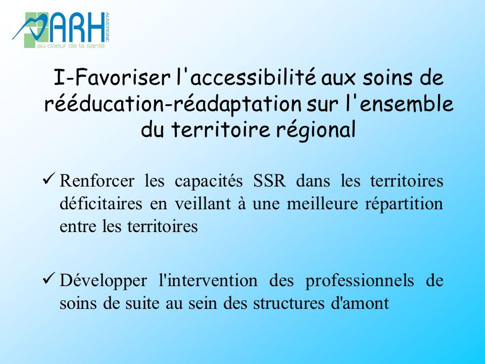 I-Favoriser l accessibilité aux soins de rééducation-réadaptation sur l ensemble du territoire régional