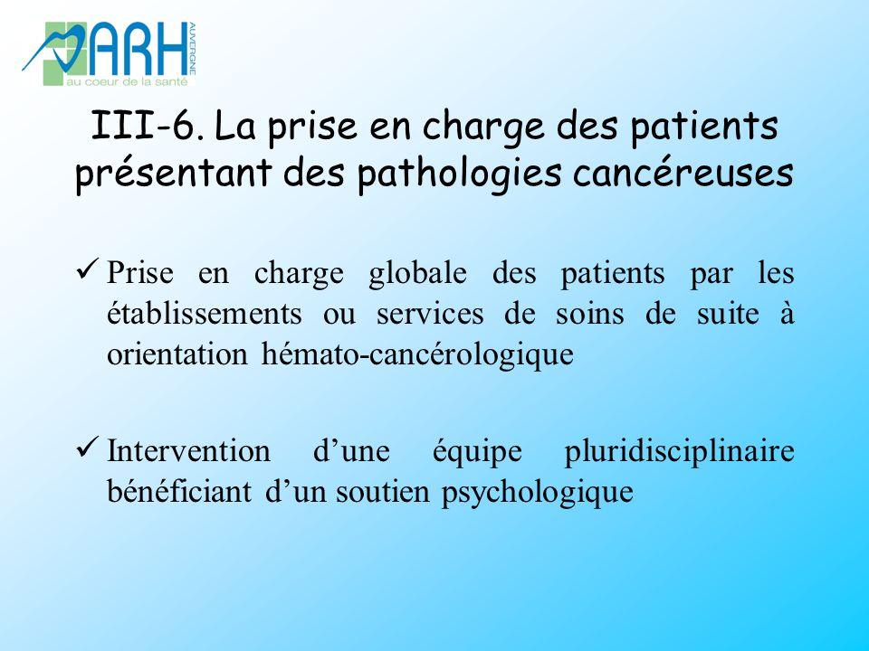 III-6. La prise en charge des patients présentant des pathologies cancéreuses