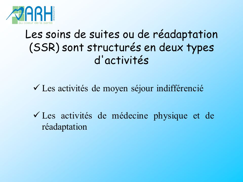 Les soins de suites ou de réadaptation (SSR) sont structurés en deux types d activités