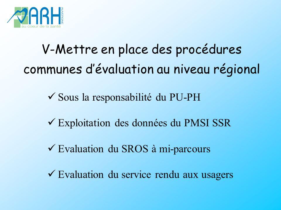 V-Mettre en place des procédures communes d'évaluation au niveau régional
