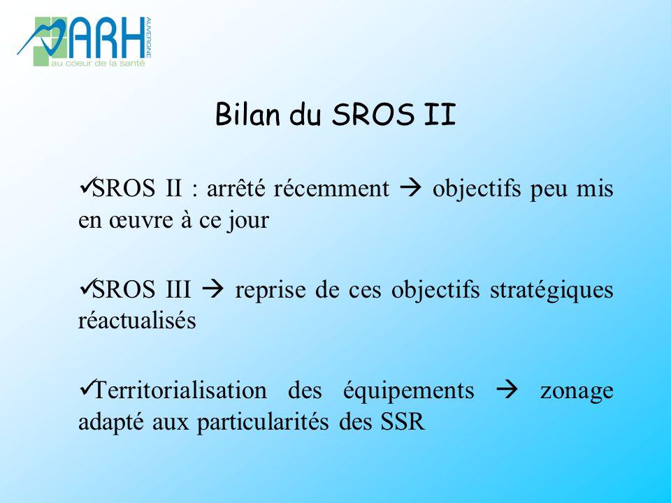 Bilan du SROS II SROS II : arrêté récemment  objectifs peu mis en œuvre à ce jour. SROS III  reprise de ces objectifs stratégiques réactualisés.