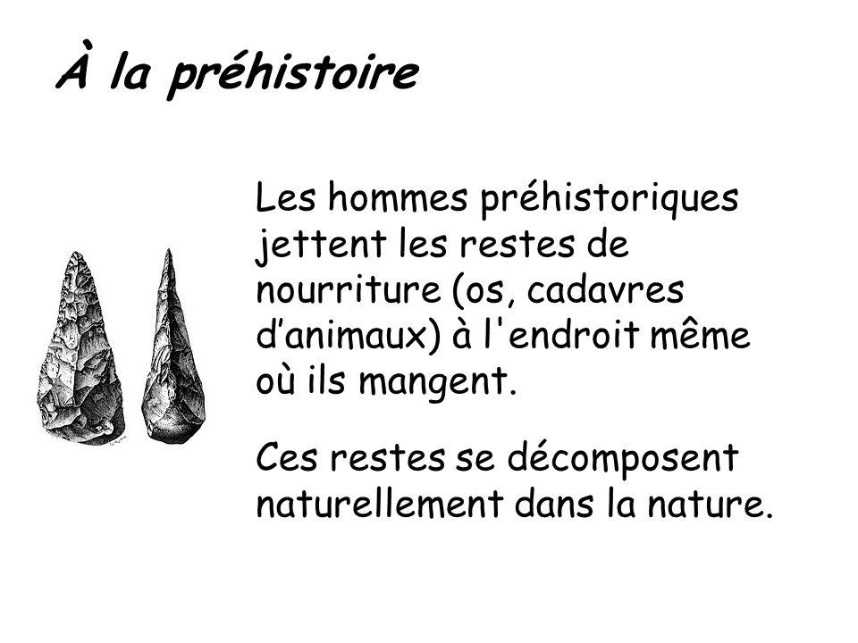 À la préhistoire Les hommes préhistoriques jettent les restes de nourriture (os, cadavres d'animaux) à l endroit même où ils mangent.