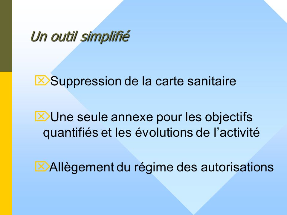 Un outil simplifié Suppression de la carte sanitaire