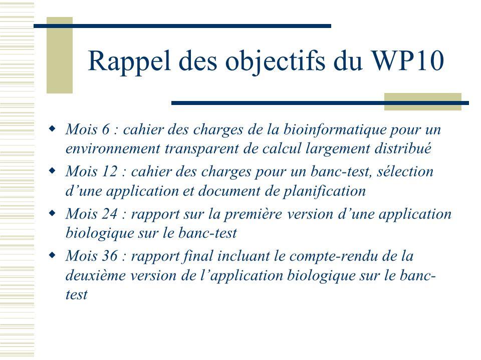 Rappel des objectifs du WP10