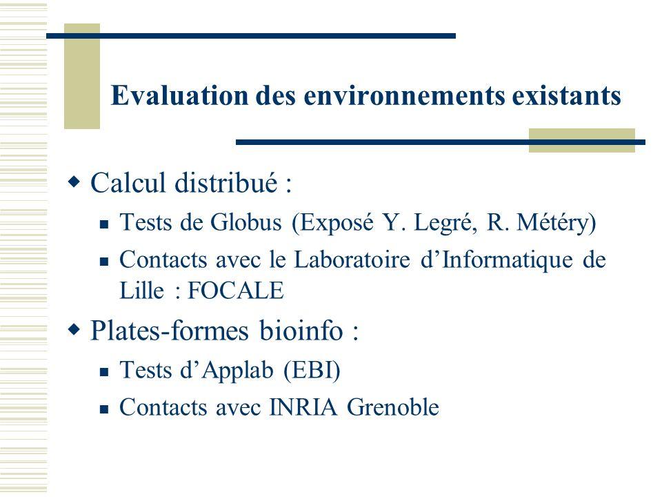 Evaluation des environnements existants