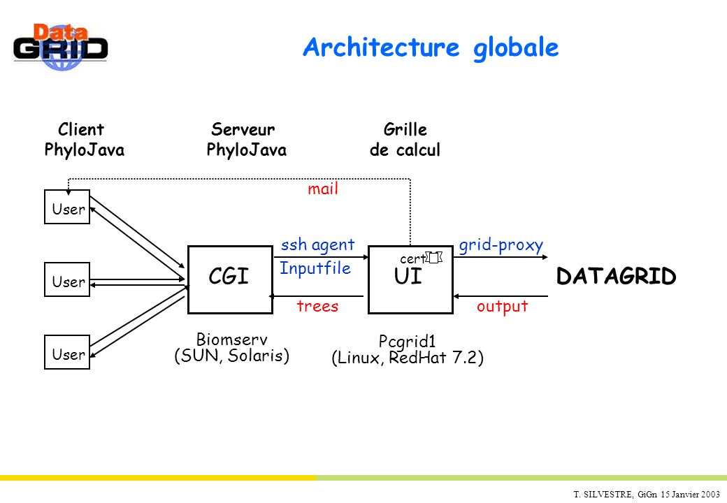 Architecture globale DATAGRID CGI UI Client PhyloJava Serveur Grille