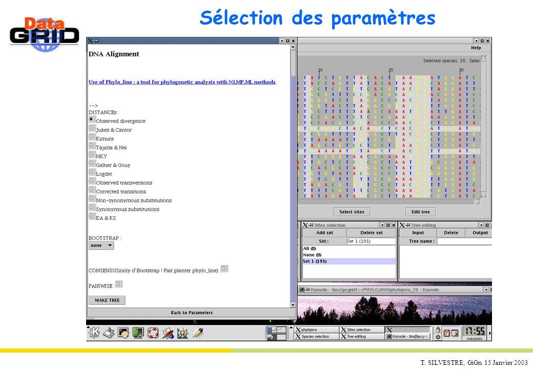 Sélection des paramètres
