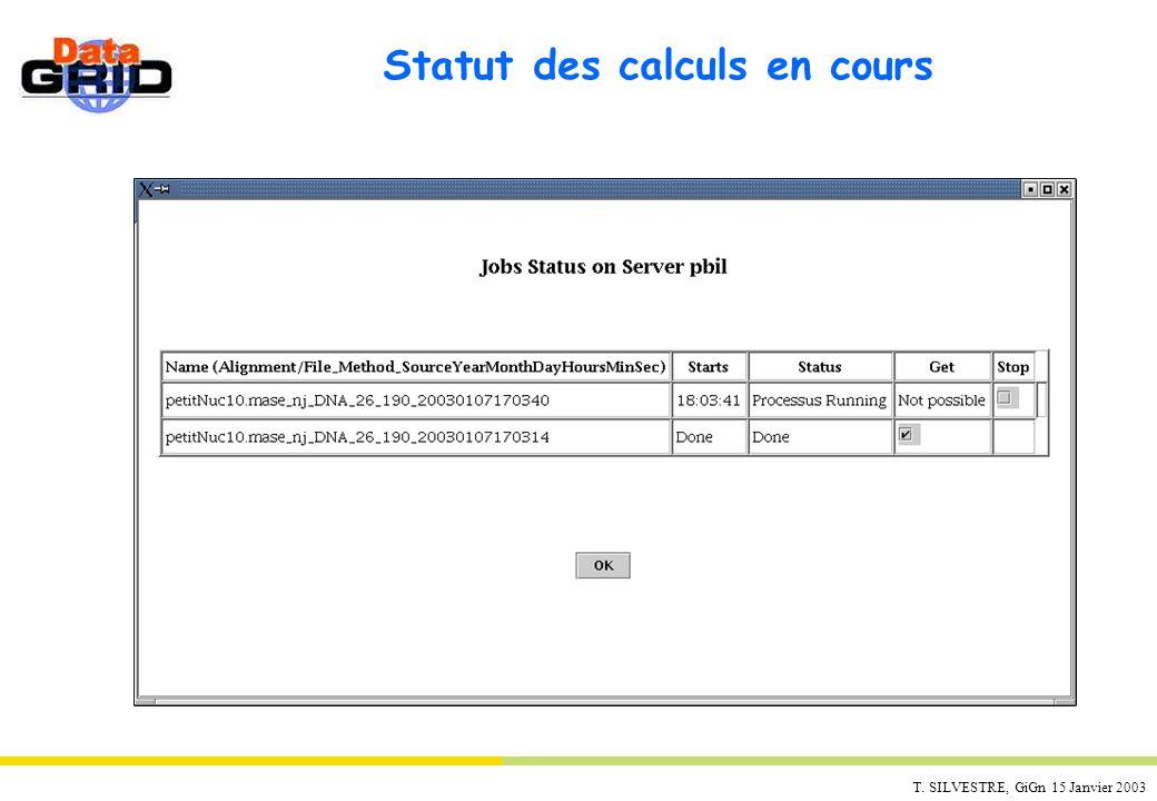 Statut des calculs en cours