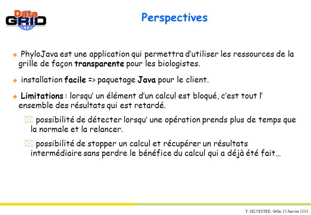 PerspectivesPhyloJava est une application qui permettra d'utiliser les ressources de la grille de façon transparente pour les biologistes.