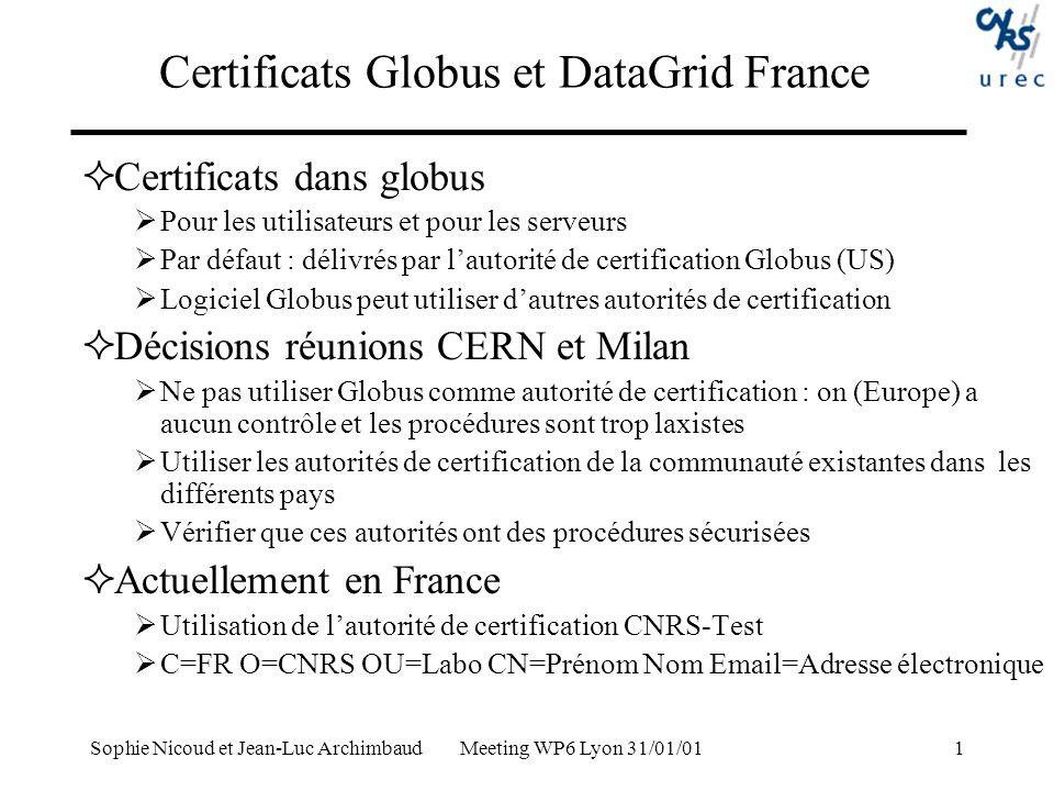 Certificats Globus et DataGrid France