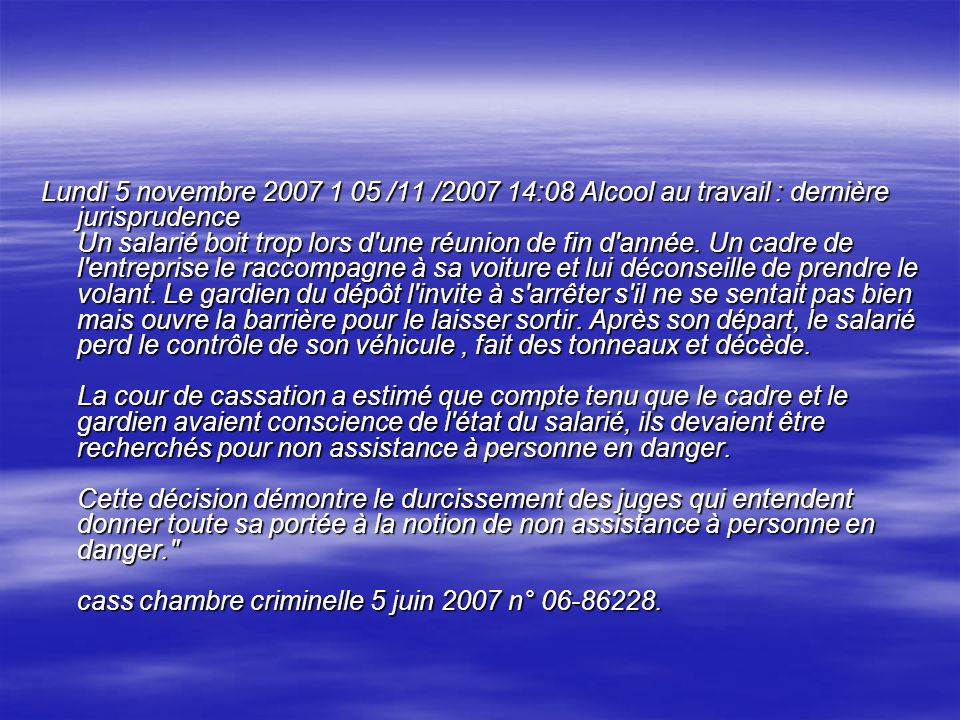 Usage de l alcool au travail ppt video online t l charger - Jurisprudence cour de cassation chambre sociale ...