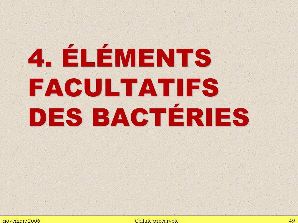 4. ÉLÉMENTS FACULTATIFS DES BACTÉRIES