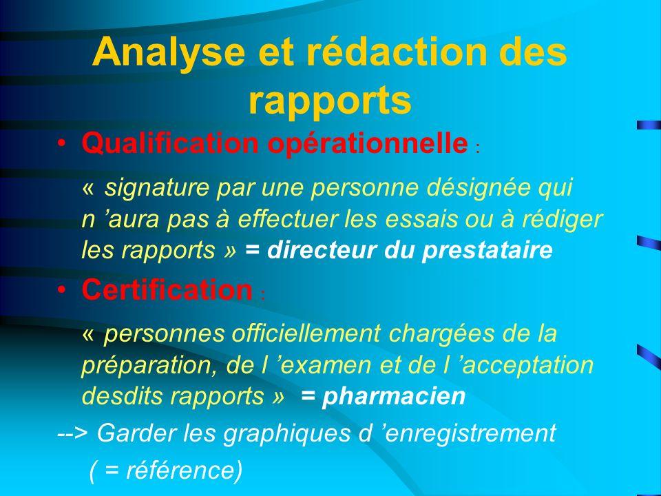 Analyse et rédaction des rapports