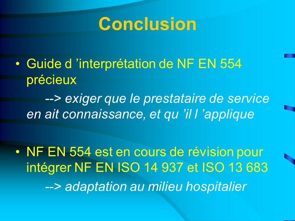 Conclusion Guide d 'interprétation de NF EN 554 précieux