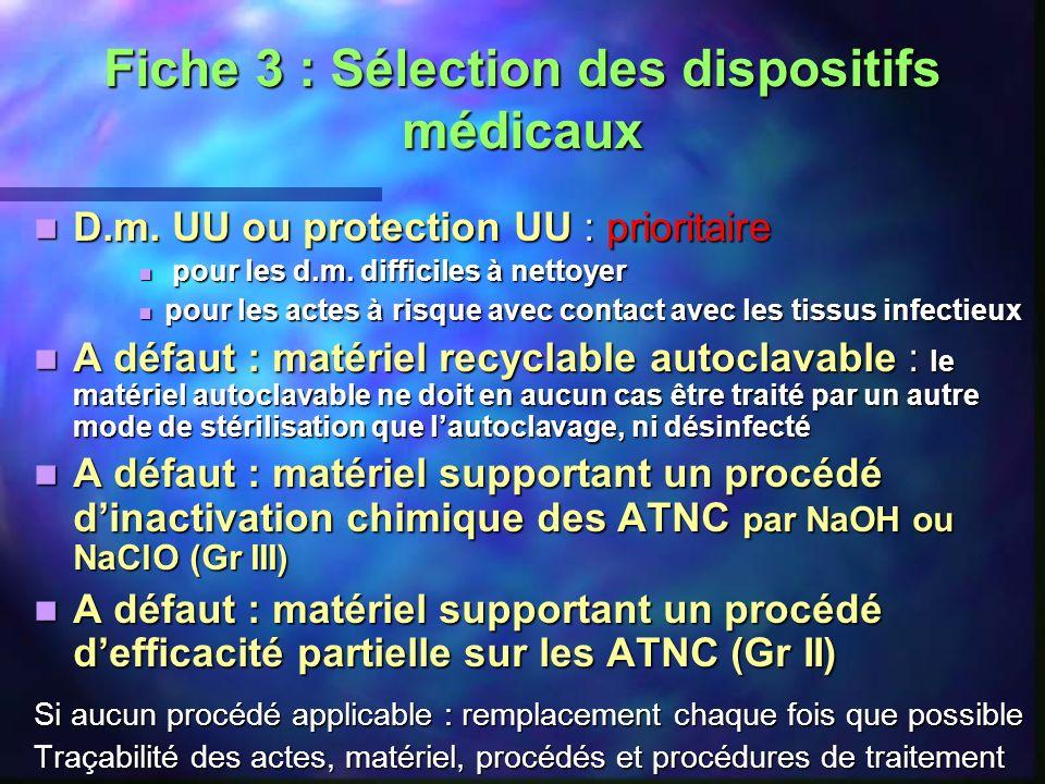Fiche 3 : Sélection des dispositifs médicaux