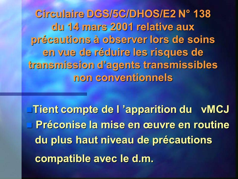 Circulaire DGS/5C/DHOS/E2 N° 138 du 14 mars 2001 relative aux précautions à observer lors de soins en vue de réduire les risques de transmission d'agents transmissibles non conventionnels