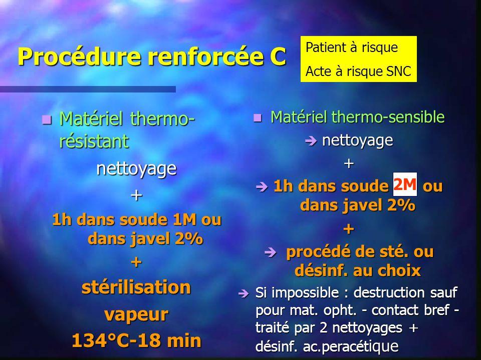 Procédure renforcée C Matériel thermo-résistant nettoyage +