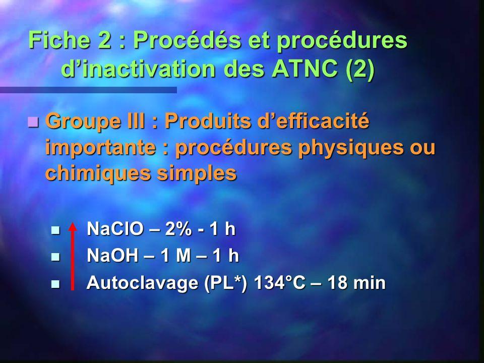 Fiche 2 : Procédés et procédures d'inactivation des ATNC (2)