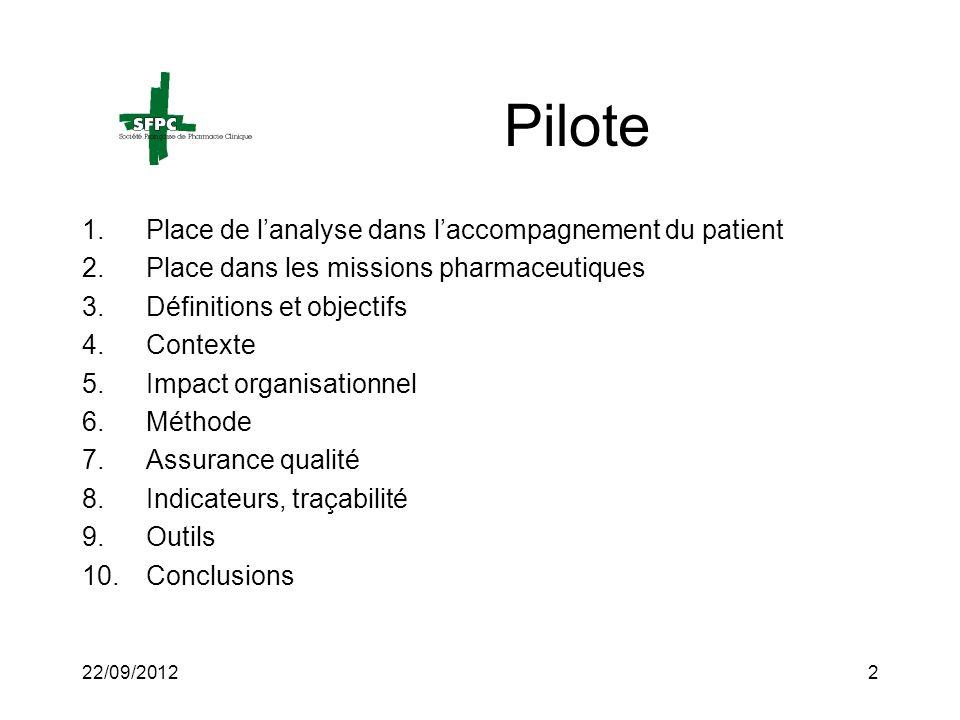 Pilote Place de l'analyse dans l'accompagnement du patient
