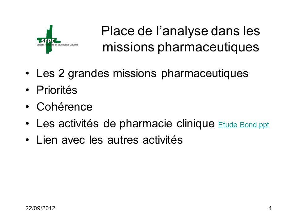 Place de l'analyse dans les missions pharmaceutiques