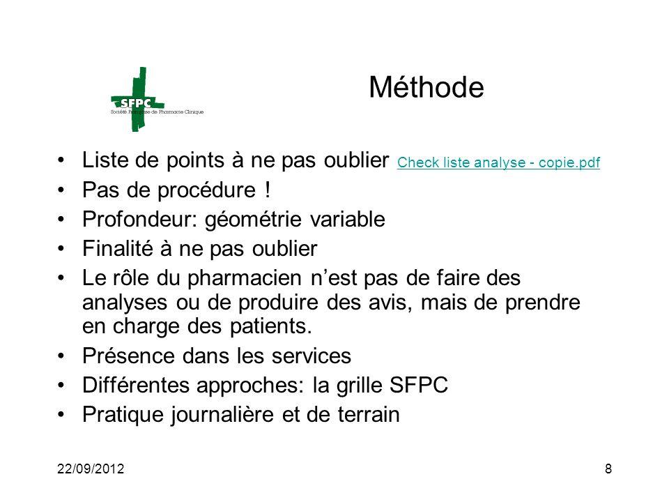 Méthode Liste de points à ne pas oublier Check liste analyse - copie.pdf. Pas de procédure ! Profondeur: géométrie variable.