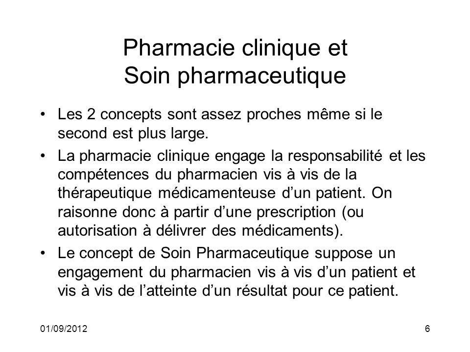 Pharmacie clinique et Soin pharmaceutique