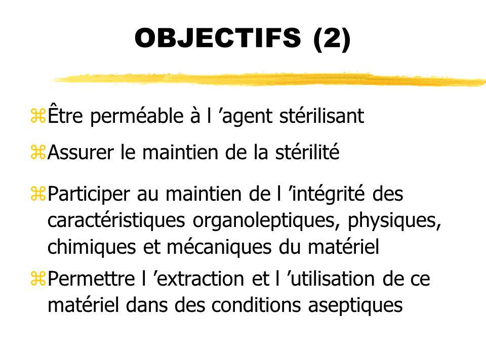 OBJECTIFS (2) Être perméable à l 'agent stérilisant