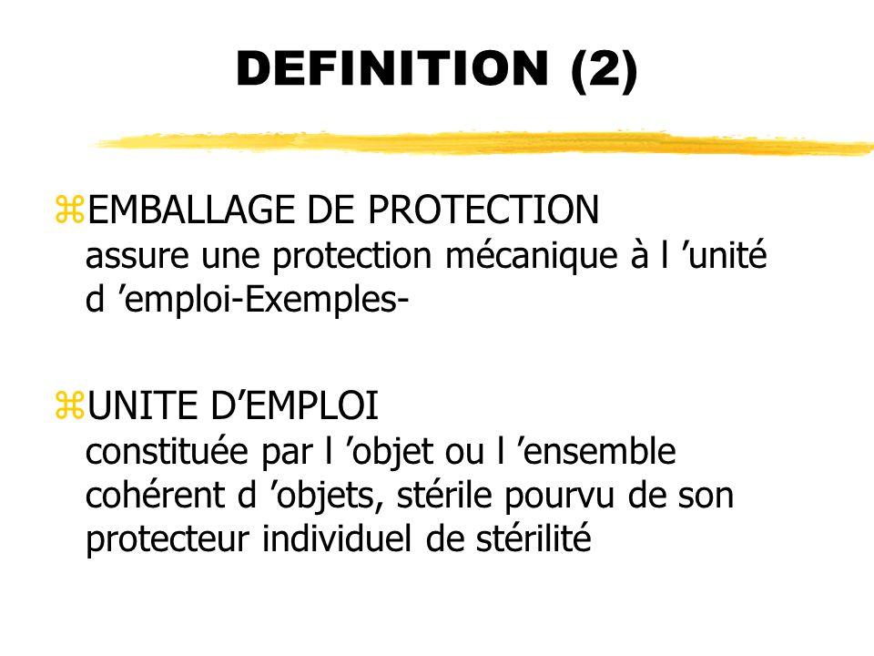 DEFINITION (2) EMBALLAGE DE PROTECTION assure une protection mécanique à l 'unité d 'emploi-Exemples-