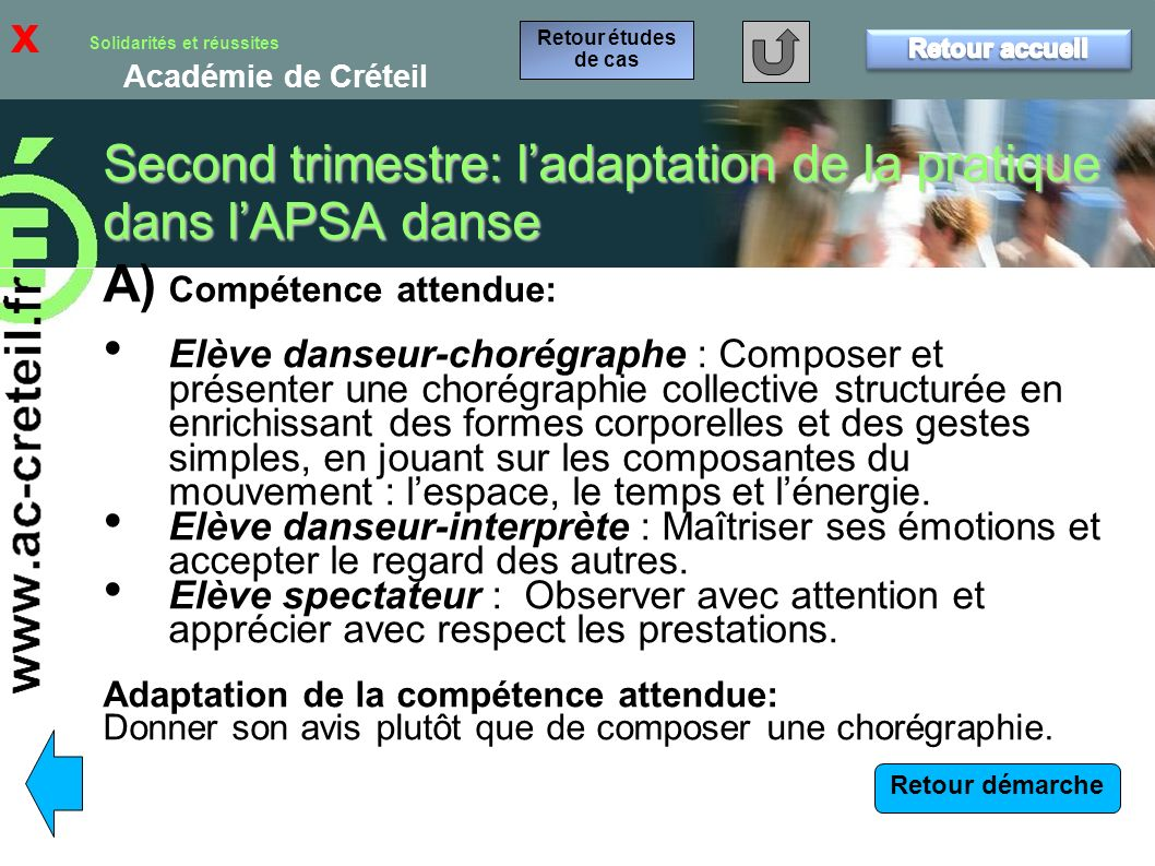 Second trimestre: l'adaptation de la pratique dans l'APSA danse