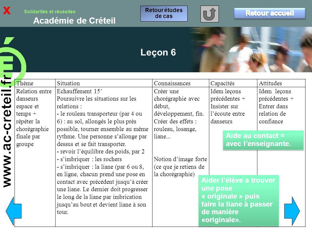 x Leçon 6 Retour accueil Aide au contact = avec l'enseignante.