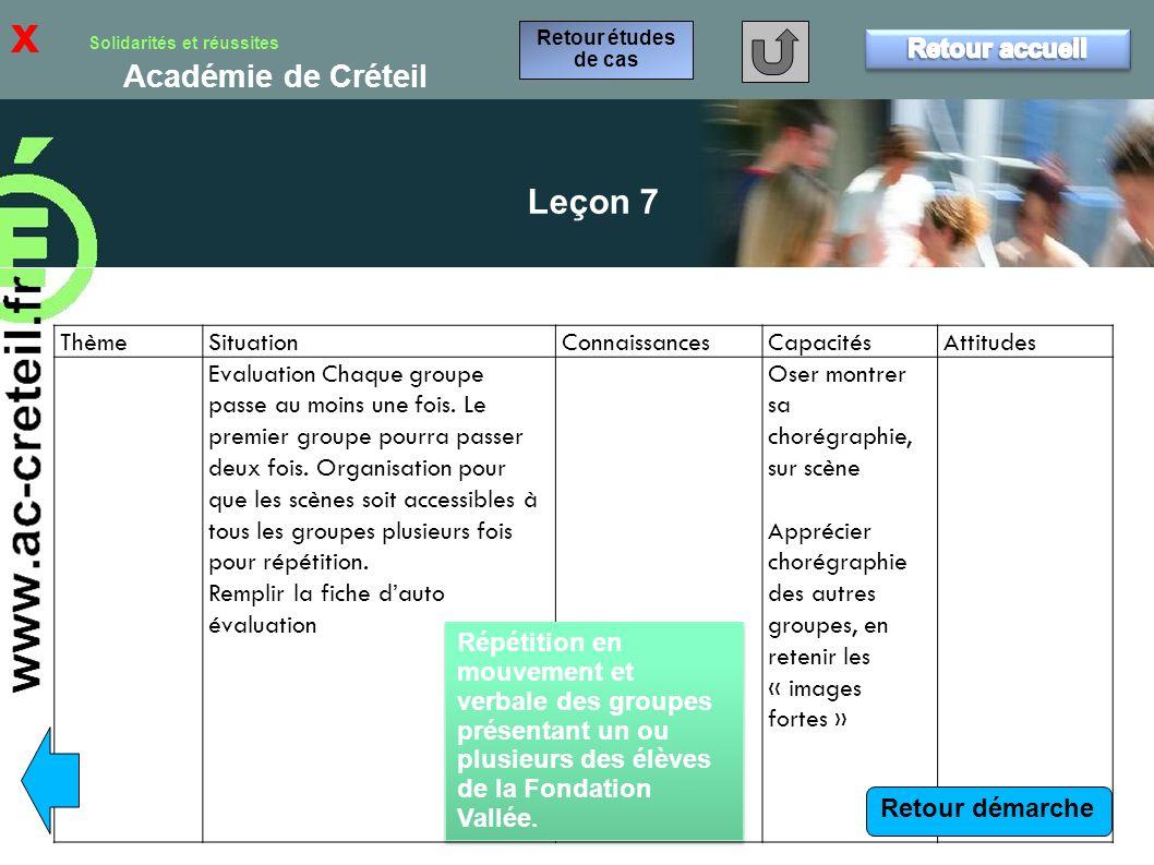 x Leçon 7 Retour accueil Thème Situation Connaissances Capacités