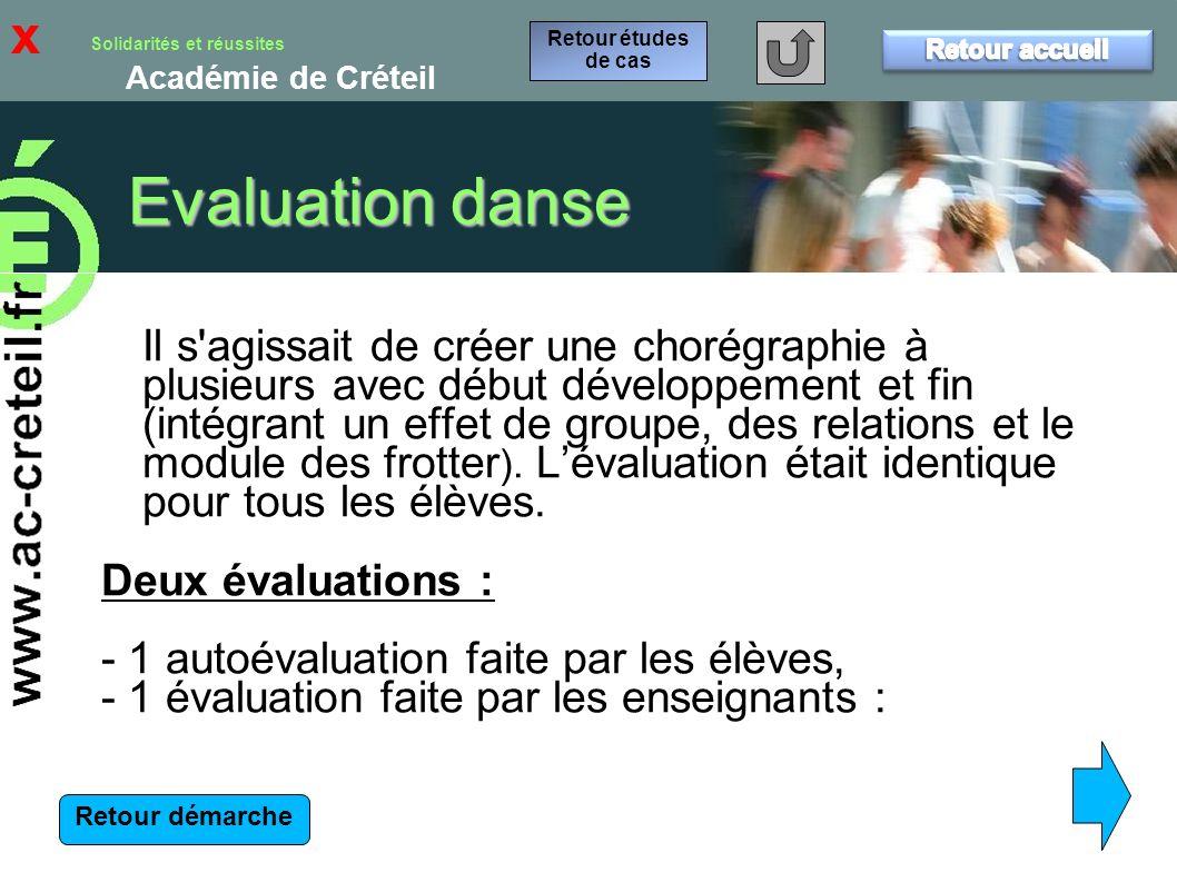 x Retour études de cas. Retour accueil. Evaluation danse.