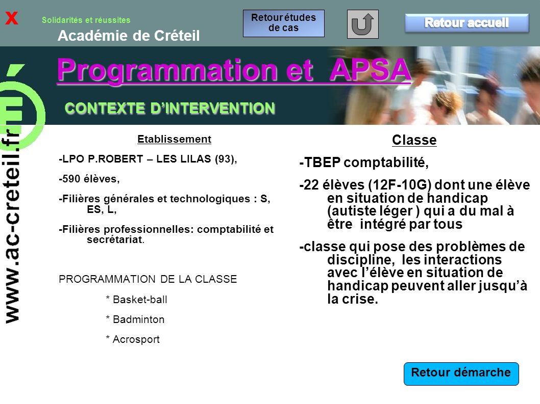 Programmation et APSA CONTEXTE D'INTERVENTION