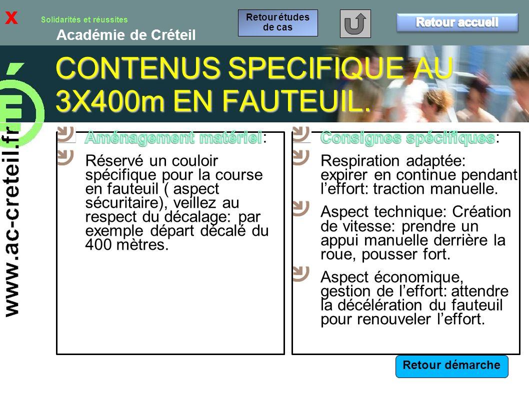 CONTENUS SPECIFIQUE AU 3X400m EN FAUTEUIL.