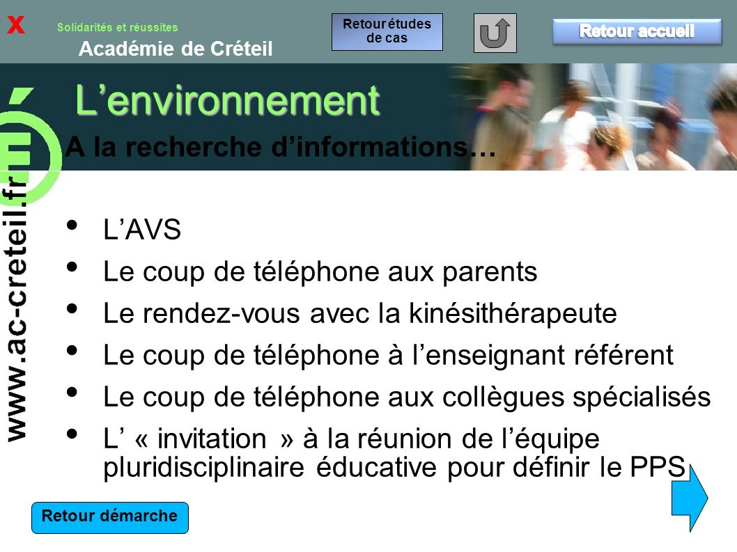 L'environnement x A la recherche d'informations… L'AVS