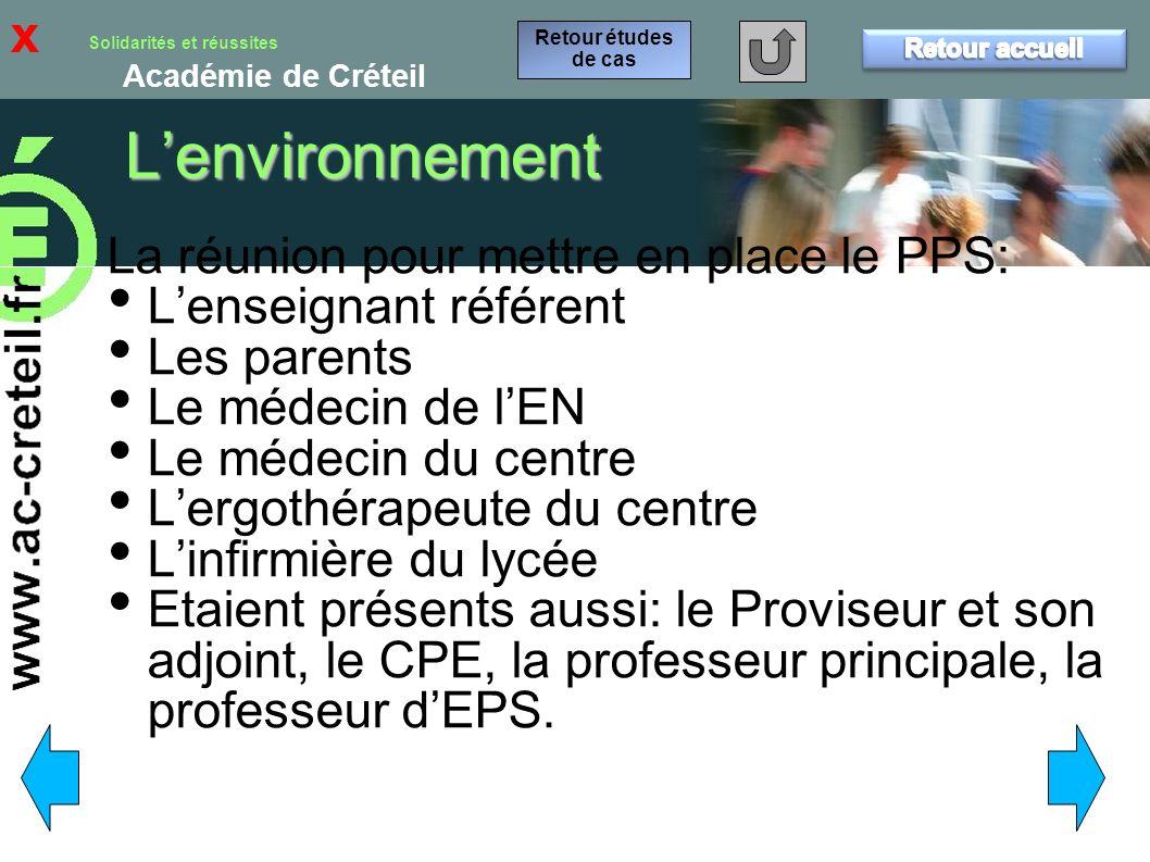L'environnement x La réunion pour mettre en place le PPS: