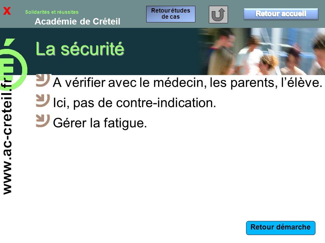 La sécurité x A vérifier avec le médecin, les parents, l'élève.