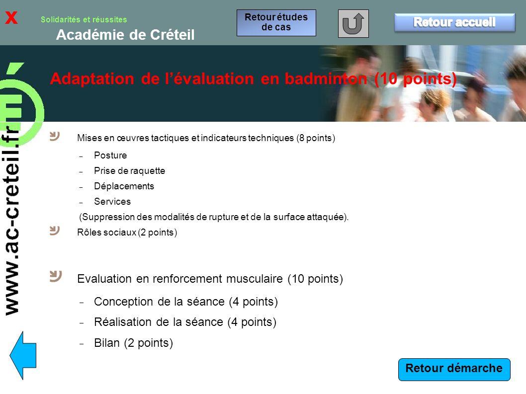 x Adaptation de l'évaluation en badminton (10 points) Retour accueil