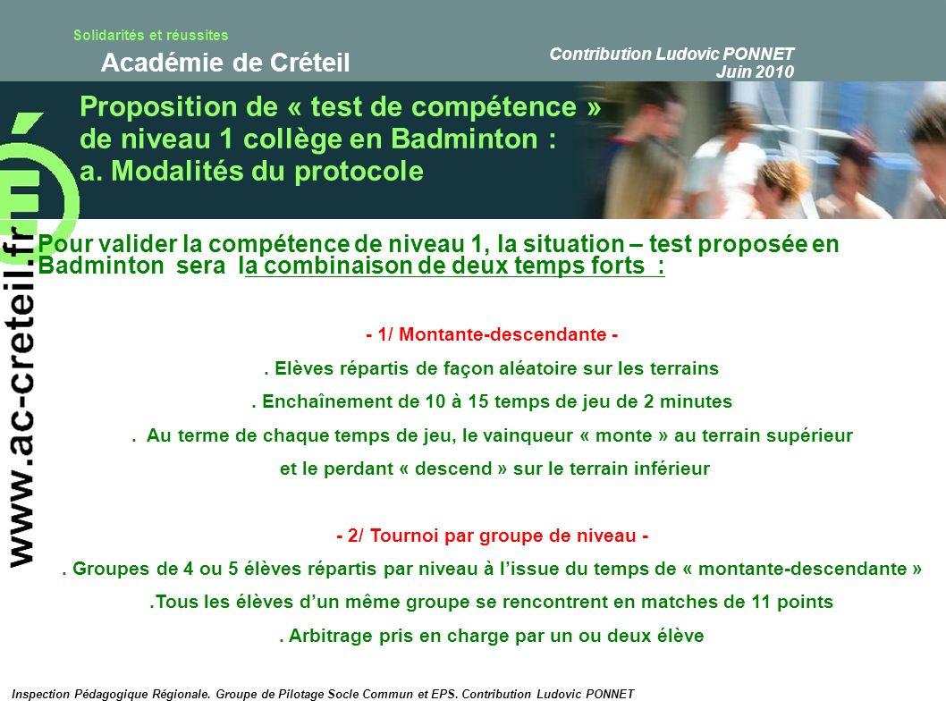 Proposition de « test de compétence »