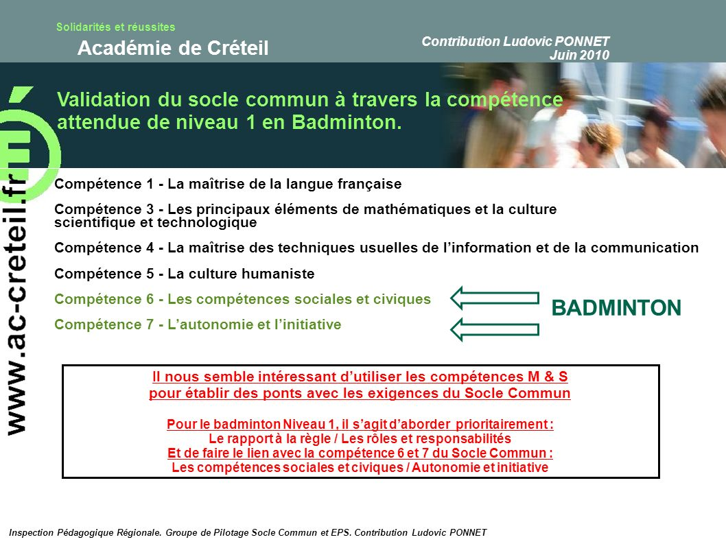 BADMINTON Validation du socle commun à travers la compétence
