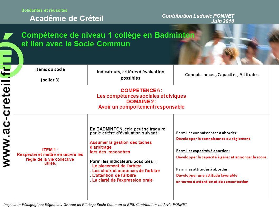 Compétence de niveau 1 collège en Badminton
