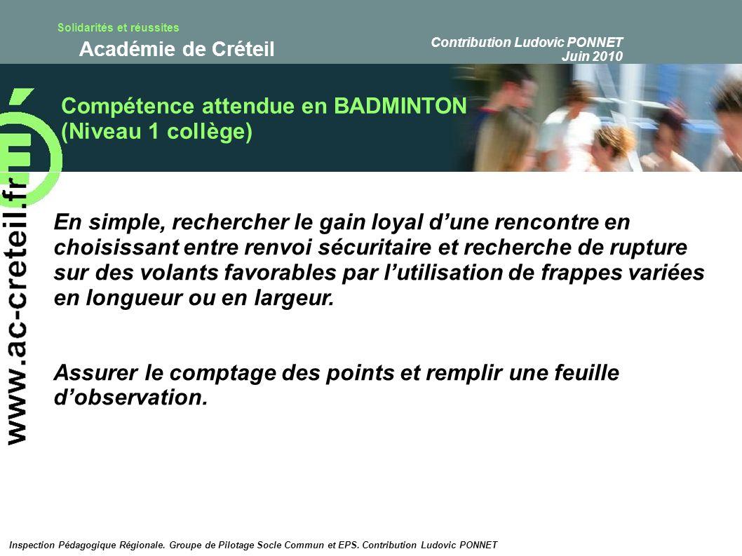 Compétence attendue en BADMINTON (Niveau 1 collège)