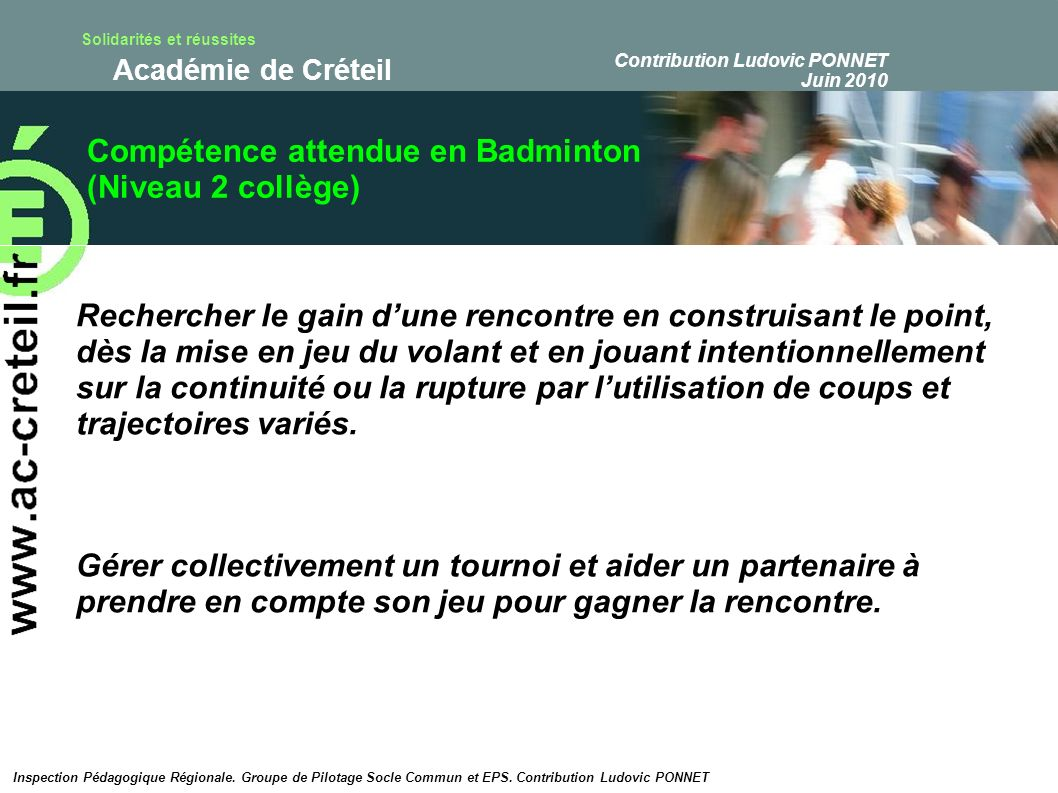 Compétence attendue en Badminton (Niveau 2 collège)